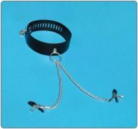 Leather Collar With Nipple Clamps